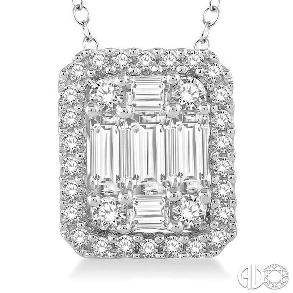 3/4 Ctw Octagonal Baguette & Round Cut Diamond Pendant With Box Chain in 14K White Gold Image 3 Coughlin Jewelers St. Clair, MI