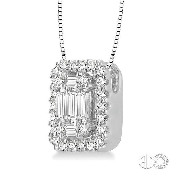 3/8 Ctw Octagonal Baguette & Round Cut Diamond Pendant With Box Chain in 14K White Gold Image 2 Coughlin Jewelers St. Clair, MI