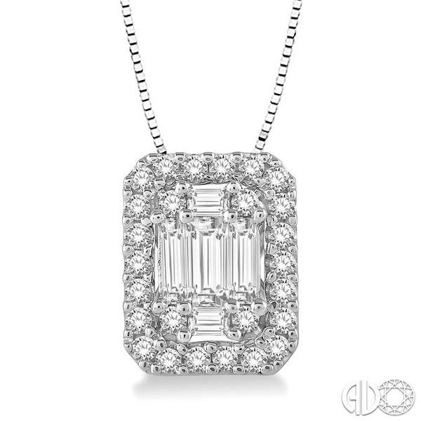 3/8 Ctw Octagonal Baguette & Round Cut Diamond Pendant With Box Chain in 14K White Gold Coughlin Jewelers St. Clair, MI