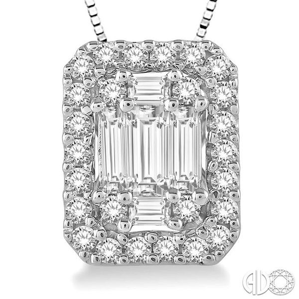 3/8 Ctw Octagonal Baguette & Round Cut Diamond Pendant With Box Chain in 14K White Gold Image 3 Coughlin Jewelers St. Clair, MI