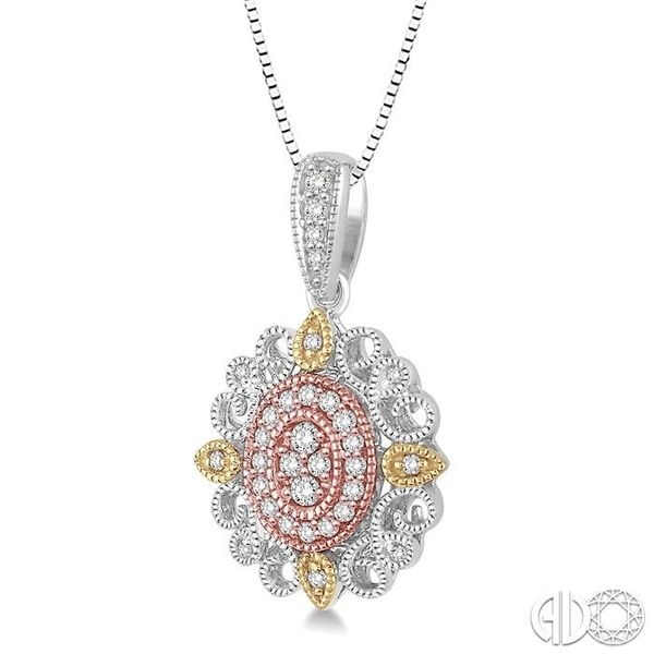 1/4 Ctw Oval Shape Round Cut Diamond Pendant in 14K Tri Color Gold with Chain Image 2 Coughlin Jewelers St. Clair, MI