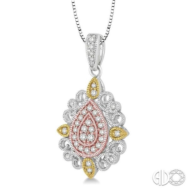 1/4 Ctw Pear Shape Round Cut Diamond Pendant in 14K Tri Color Gold with Chain Image 2 Coughlin Jewelers St. Clair, MI