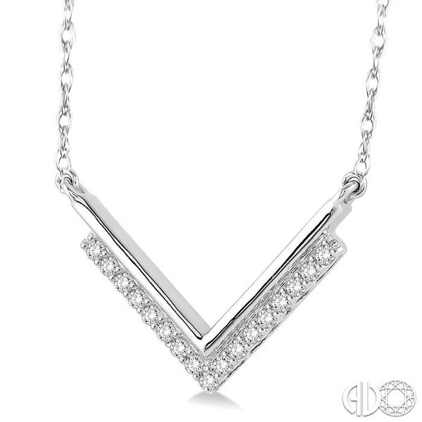 1/5 Ctw 'V' Shape Diamond Pendant in 14K White Gold with Chain Image 2 Coughlin Jewelers St. Clair, MI