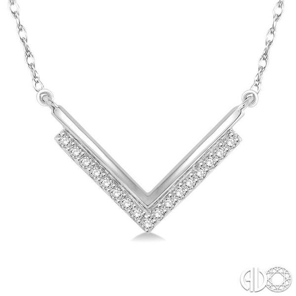 1/5 Ctw 'V' Shape Diamond Pendant in 14K White Gold with Chain Coughlin Jewelers St. Clair, MI