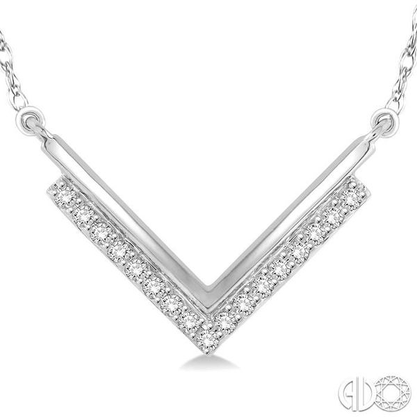 1/5 Ctw 'V' Shape Diamond Pendant in 14K White Gold with Chain Image 3 Coughlin Jewelers St. Clair, MI