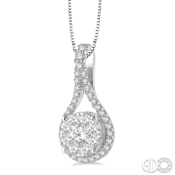 5/8 Ctw Lovebright Round Cut Diamond Pendant in 14K White Gold with Chain Image 2 Coughlin Jewelers St. Clair, MI