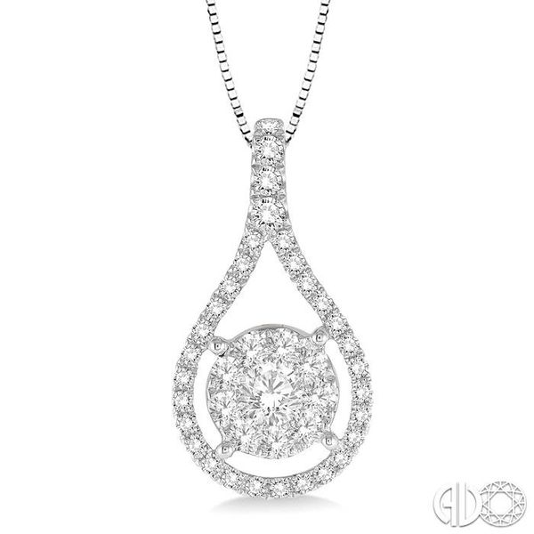5/8 Ctw Lovebright Round Cut Diamond Pendant in 14K White Gold with Chain Coughlin Jewelers St. Clair, MI