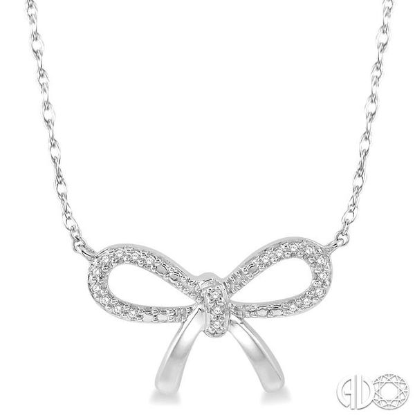 1/20 Ctw Bow Tie Round Cut Diamond Necklace in 10K White Gold Coughlin Jewelers St. Clair, MI