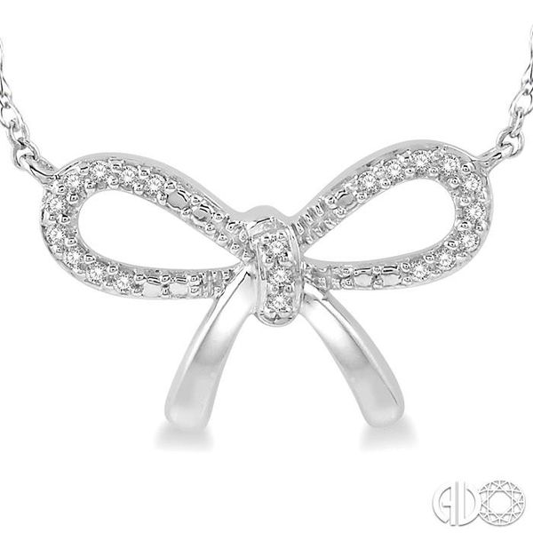 1/20 Ctw Bow Tie Round Cut Diamond Necklace in 10K White Gold Image 3 Coughlin Jewelers St. Clair, MI