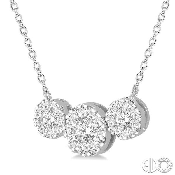1 Ctw Triple Circle Lovebright Round Cut Diamond Necklace in 14K White Gold Image 2 Coughlin Jewelers St. Clair, MI