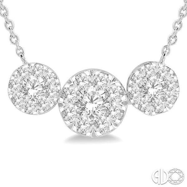 1 Ctw Triple Circle Lovebright Round Cut Diamond Necklace in 14K White Gold Image 3 Coughlin Jewelers St. Clair, MI