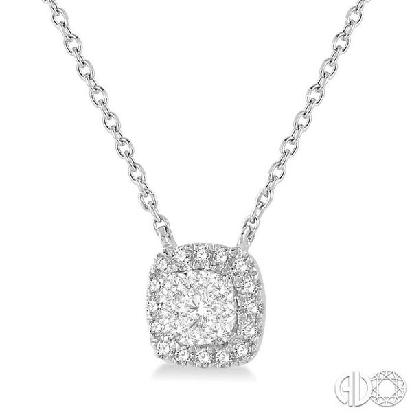 1/6 Ctw Cushion Shape Pendant Lovebright Diamond Necklace in 14K White Gold Image 2 Coughlin Jewelers St. Clair, MI