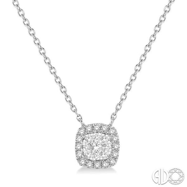 1/6 Ctw Cushion Shape Pendant Lovebright Diamond Necklace in 14K White Gold Coughlin Jewelers St. Clair, MI