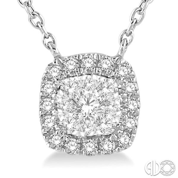 1/6 Ctw Cushion Shape Pendant Lovebright Diamond Necklace in 14K White Gold Image 3 Coughlin Jewelers St. Clair, MI