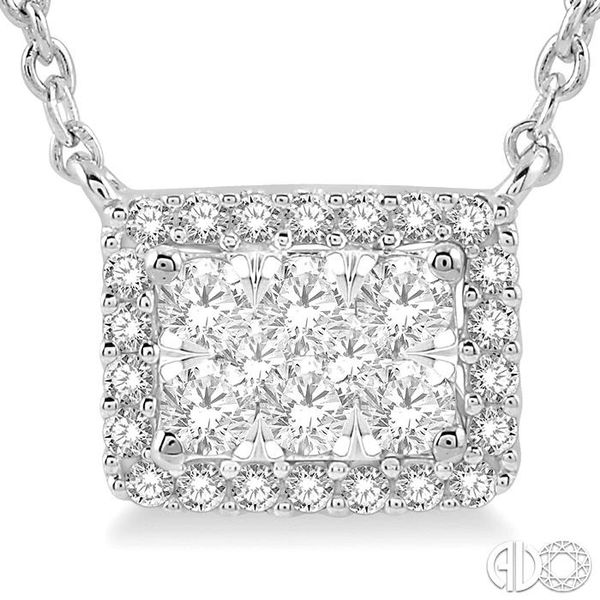 1/3 ctw Emerald Shape Round Cut Diamond Lovebright Necklace in 14K White Gold Image 3 Coughlin Jewelers St. Clair, MI