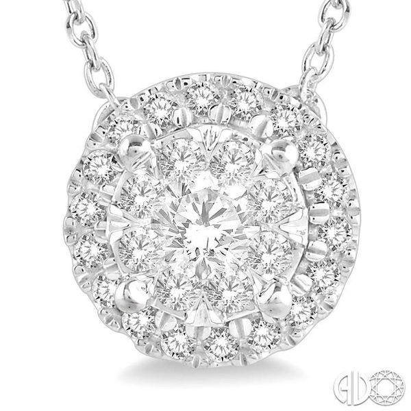 1/3 Ctw Medallion Lovebright Round Cut Diamond Necklace in 14K White Gold Image 3 Coughlin Jewelers St. Clair, MI
