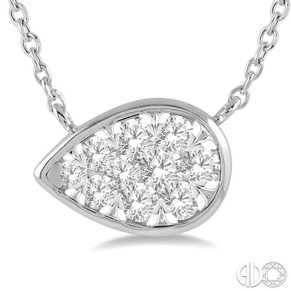 1/4 Ctw Pear Shape Pendant Lovebright Diamond Necklace in 14K White Gold Image 3 Coughlin Jewelers St. Clair, MI