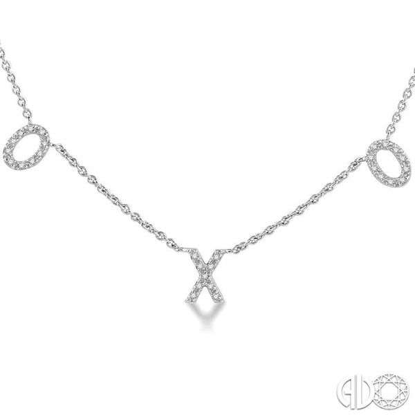 1/6 Ctw Naughts & Crosses Round Cut Diamond Necklace in 10K White Gold Image 3 Coughlin Jewelers St. Clair, MI