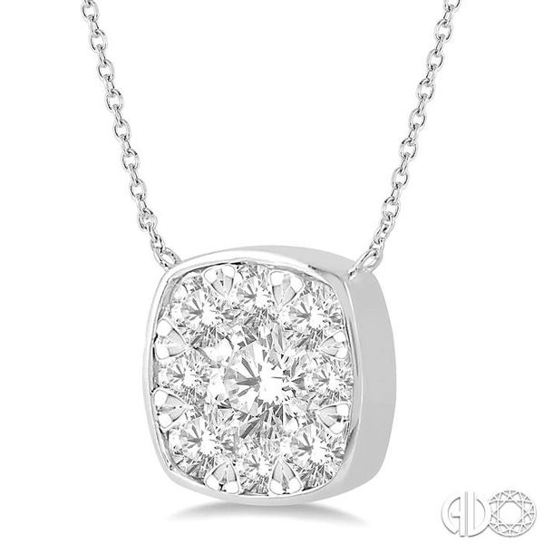 1 Ctw Cushion Shape Pendant Lovebright Diamond Necklace in 14K White Gold Image 2 Coughlin Jewelers St. Clair, MI