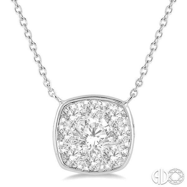 1 Ctw Cushion Shape Pendant Lovebright Diamond Necklace in 14K White Gold Coughlin Jewelers St. Clair, MI