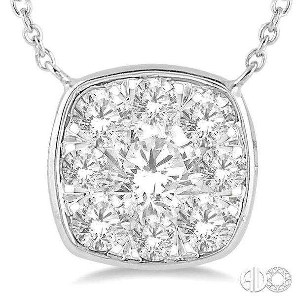 1 Ctw Cushion Shape Pendant Lovebright Diamond Necklace in 14K White Gold Image 3 Coughlin Jewelers St. Clair, MI