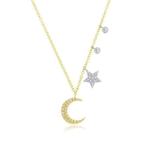 14kt Gold Moon Star Pendant 1 Pt Diamond Half Moon And Star Pendant