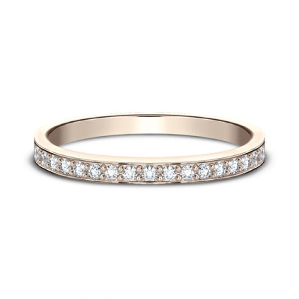 Rose Gold Bead Set Diamond Band-2mm Image 2 Darrah Cooper, Inc. Lake Placid, NY