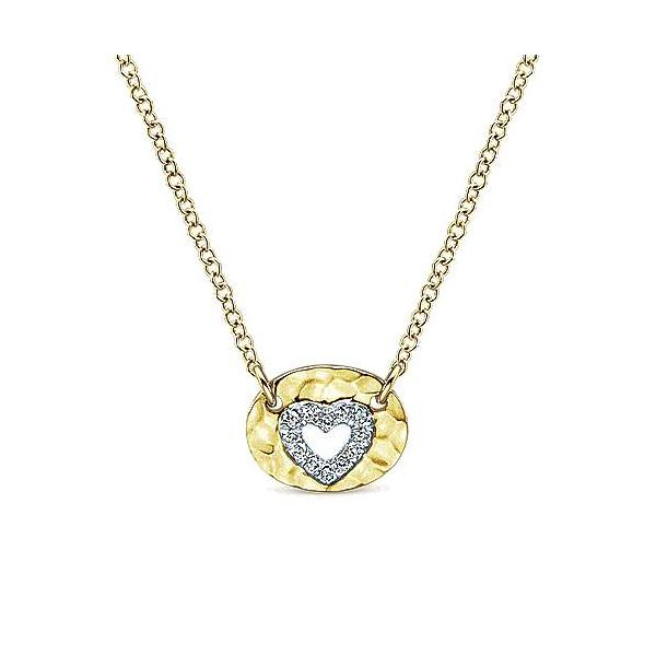 Hammered Diamond Heart Necklace Darrah Cooper, Inc. Lake Placid, NY