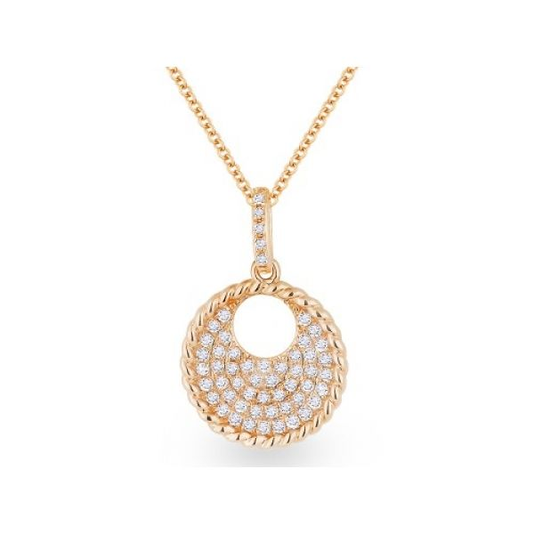 14k rose gold diamond pave necklace DeRobertis Jewelers West Hartford, CT