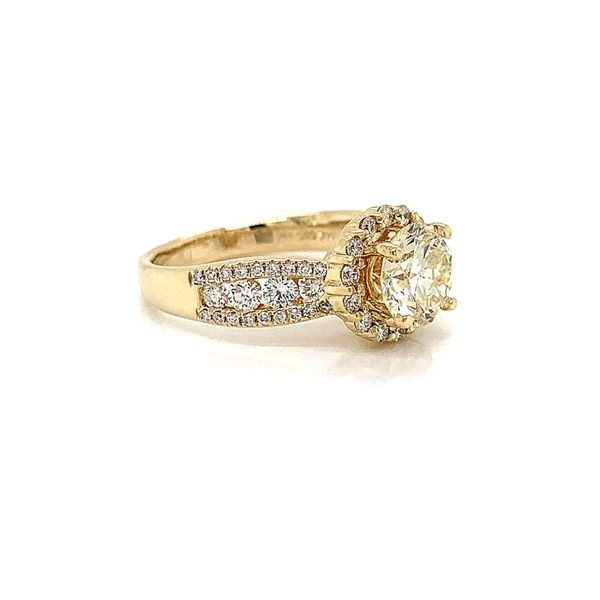14k Yellow Gold Diamond Engagement Ring with 1.33ct Round Diamond Image 3 Arezzo Jewelers Chicago, IL