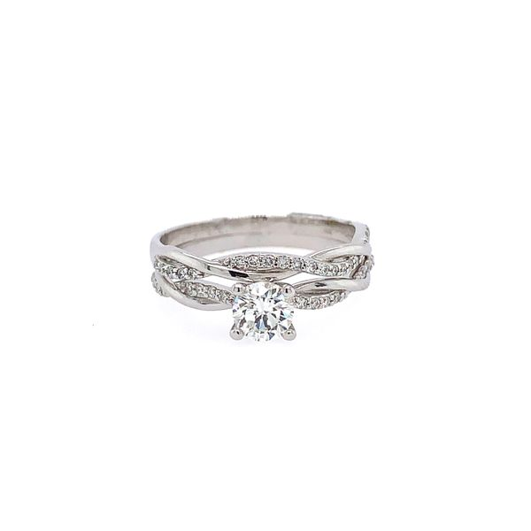 14k White Gold Diamond Bridal Set, .49cts Center Image 2 Arezzo Jewelers Chicago, IL