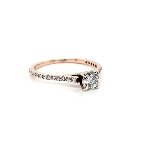 Rosé Petite Straignt row Pave Engagement Ring Image 2 Arezzo Jewelers Chicago, IL
