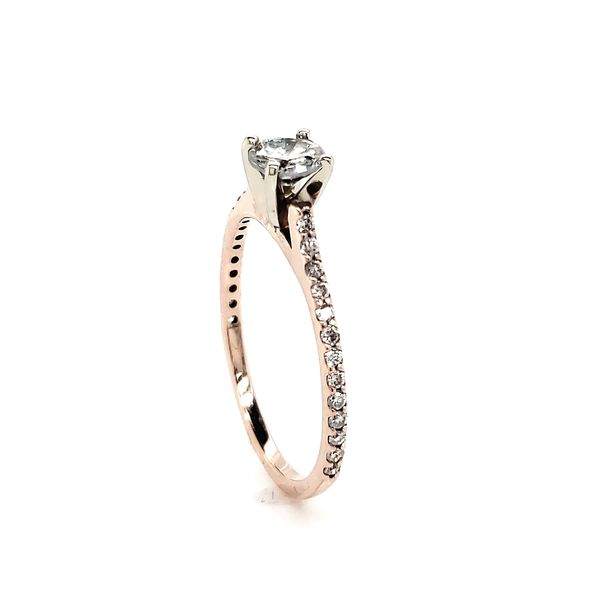 Rosé Petite Straignt row Pave Engagement Ring Image 3 Arezzo Jewelers Chicago, IL