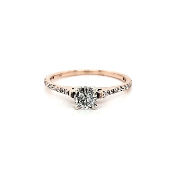 Rosé Petite Straignt row Pave Engagement Ring Arezzo Jewelers Chicago, IL