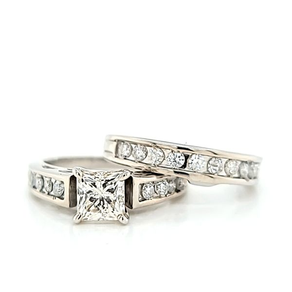 Princess Cut Diamond Engagement Ring and Wedding Band Set, 1.55cts Image 2 Arezzo Jewelers Chicago, IL