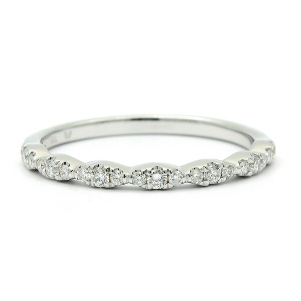 14k White Gold Diamond Crescent Wedding Band Arezzo Jewelers Chicago, IL