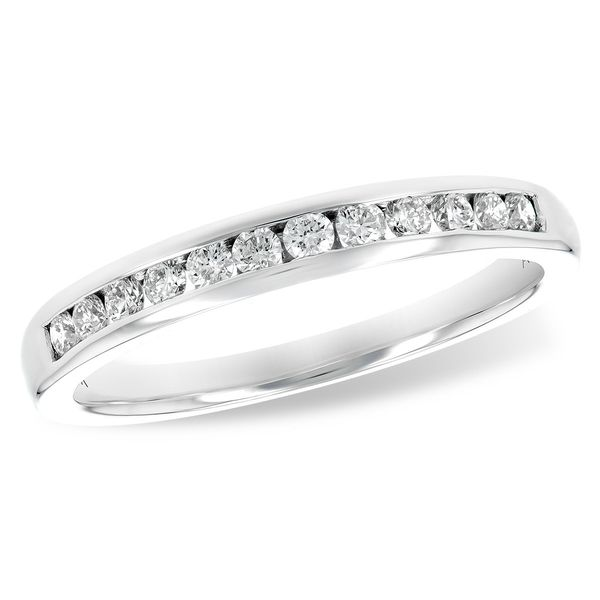 14k White Gold Channel Set Diamond Wedding Band, .25cts Arezzo Jewelers Chicago, IL