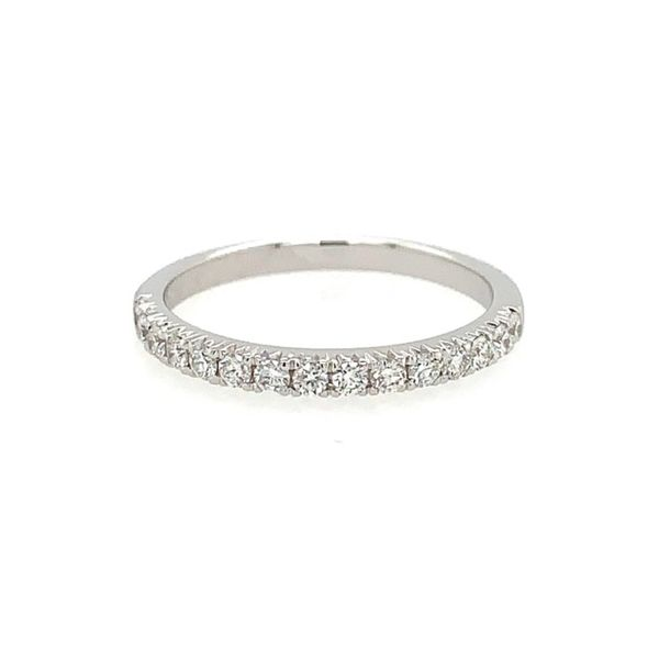 14k White Gold Fishtail Setting Single Row Diamond Band Arezzo Jewelers Chicago, IL