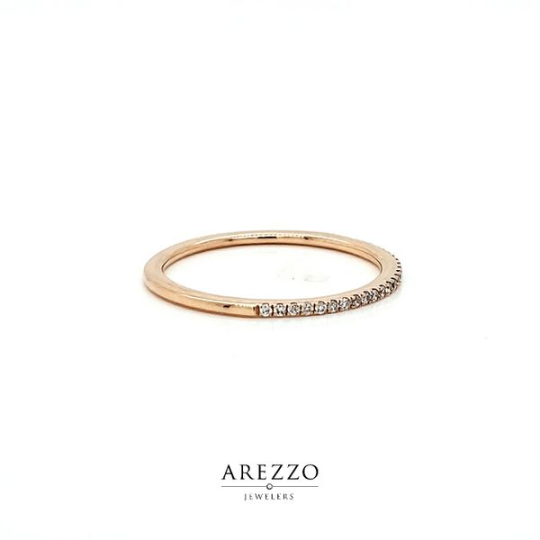 14k Rose Gold Petite Pave Diamond Wedding Band, .12cts Image 2 Arezzo Jewelers Chicago, IL