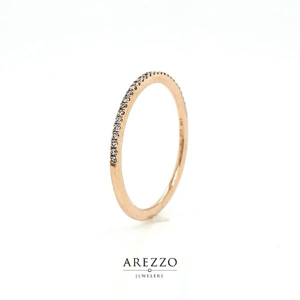 14k Rose Gold Petite Pave Diamond Wedding Band, .12cts Image 3 Arezzo Jewelers Chicago, IL