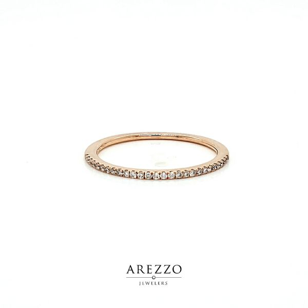 14k Rose Gold Petite Pave Diamond Wedding Band, .12cts Arezzo Jewelers Chicago, IL