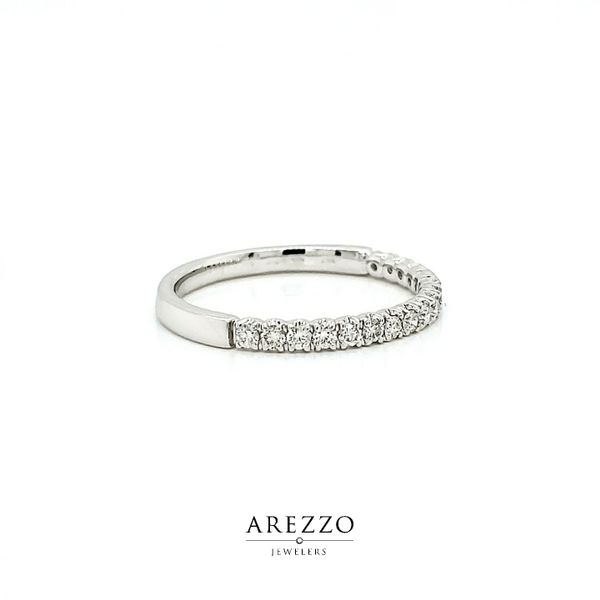 14k White Gold Single Row Pave Diamond Stackable Wedding Band, .28cts Image 2 Arezzo Jewelers Chicago, IL
