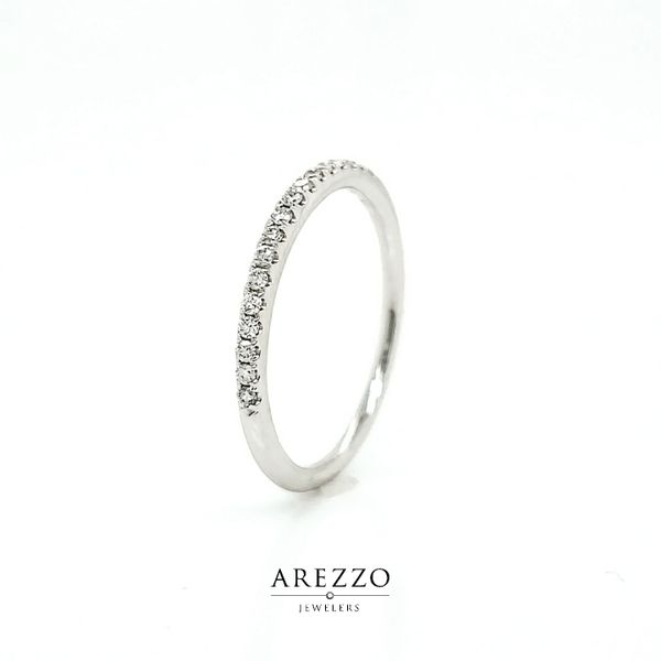 14k White Gold Petite Diamond Stackable Wedding Band, .16cts Image 3 Arezzo Jewelers Chicago, IL