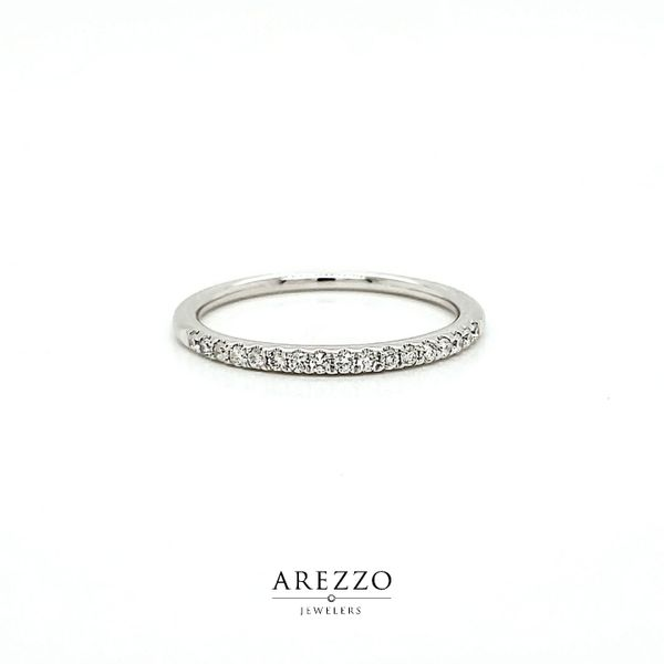 14k White Gold Petite Diamond Stackable Wedding Band, .16cts Arezzo Jewelers Chicago, IL