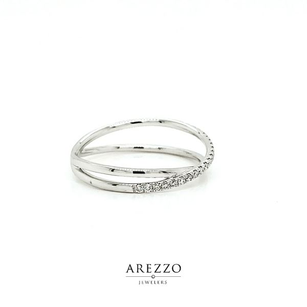 14k White Gold Diamond Crossover Ring, .13cts Image 2 Arezzo Jewelers Chicago, IL