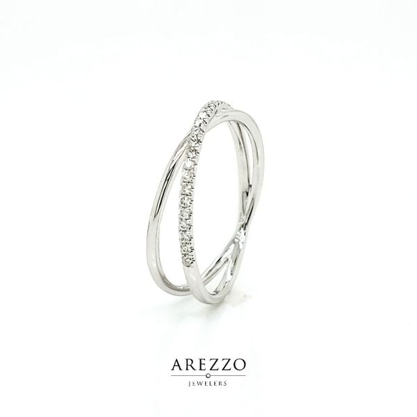 14k White Gold Diamond Crossover Ring, .13cts Image 3 Arezzo Jewelers Chicago, IL