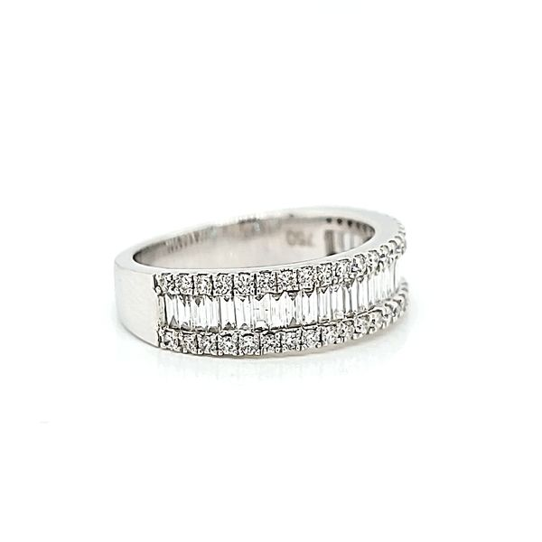 18k White Gold Three Row, Round & Baguette Diamond Band, 2.38cts Image 2 Arezzo Jewelers Chicago, IL