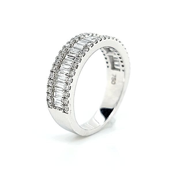 18k White Gold Three Row, Round & Baguette Diamond Band, 2.38cts Image 3 Arezzo Jewelers Chicago, IL