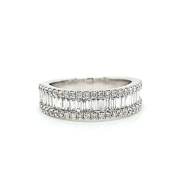 18k White Gold Three Row, Round & Baguette Diamond Band, 2.38cts Arezzo Jewelers Chicago, IL