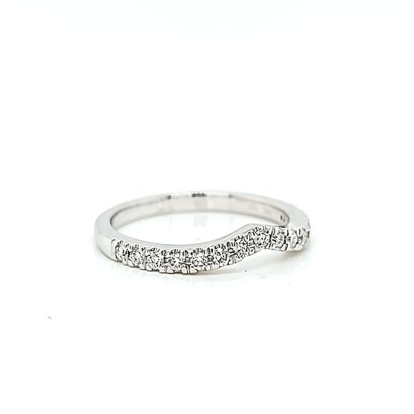 14k White Gold Contoured Stackable Diamond Wedding Ring Image 2 Arezzo Jewelers Chicago, IL